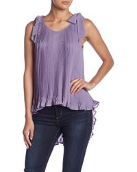 Romeo and Juliet Couture - Shoulder Tie Pleated Hi-lo Tank - Lyst
