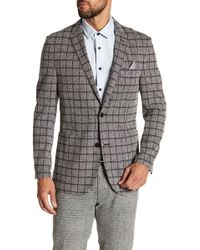 Vince Camuto - Del Aria Slim Fit Check Knit Jacket - Lyst