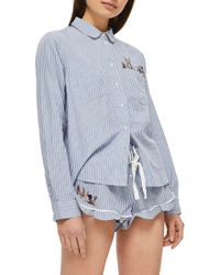 TOPSHOP - Bunny Embroidered Short Pajamas - Lyst