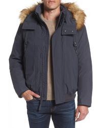Marc New York - Insulated Bomber Jacket With Faux Fur Trim - Lyst