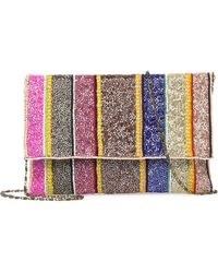 G-Lish - Beaded Stripe Foldover Clutch - Lyst