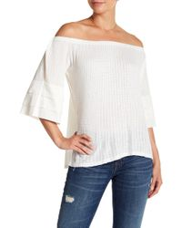Lucky Brand - Off-the-shoulder Tiered Sleeve Blouse - Lyst