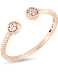 Bony Levy - 18k Rose Gold Diamond Detail Disc Cuff Ring - 0.03 Ctw - Lyst
