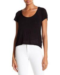 874d96fbf5415a Lyst - Fila Nikki Cold-shoulder Cropped Logo Tee in Black