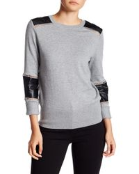 French Connection - Faux Leather Sweater - Lyst