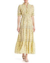 Max Studio - 3/4 Sleeve Print Tiered Maxi Dress - Lyst