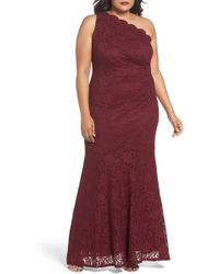 a26697505ac Decode 1.8 - One Shoulder Glitter Lace Gown (plus Size) - Lyst