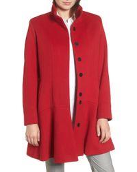 Sofia Cashmere - Funnel Neck Wool & Cashmere Flounce Coat - Lyst