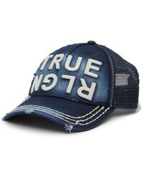 True Religion - Distressed Denim Baseball Cap - Lyst