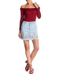 Honey Punch - Denim Flame Skirt - Lyst