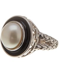 Liberty - Sterling Silver 12mm Mabe Pearl And Enamel Ring - Size 7 - Lyst