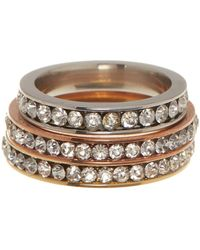 Liberty - Gold Plated Stainless Steel Cz Eternity Ring Set - Lyst