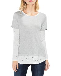 Two By Vince Camuto - Distressed Mix Media Top - Lyst