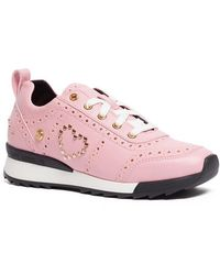 Love Moschino - Embroidered Lace-up Sneaker - Lyst