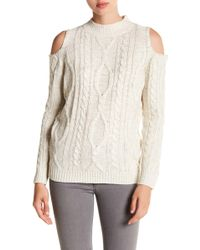 Love By Design - Cold Shoulder Cable Knit Sweater - Lyst