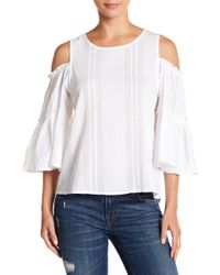 Lucky Brand - Woven Cold Shoulder Bell Sleeve Blouse - Lyst