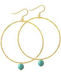Charlene K - 14k Gold Vermail Turquoise Embellished Hoop Earrings - Lyst