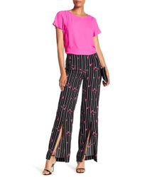 Cece by Cynthia Steffe - Confetti Striped Ditsy Slit Pants - Lyst