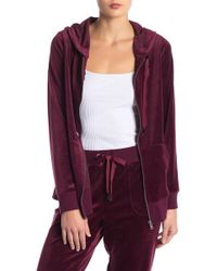 Cable & Gauge - Velour Zip Hooded Jacket - Lyst