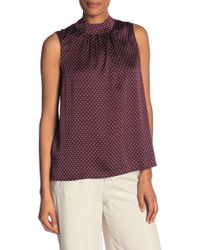 Vince Camuto - Sleeveless Trinket Geo Mock Neck Tie Back Blouse - Lyst
