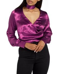 Missguided - Choker Collar Faux Wrap Blouse - Lyst