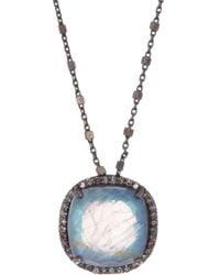 Adornia - Lara Beaded Moonstone & Diamond Chain Necklace - Lyst