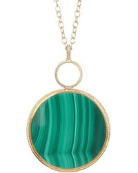 Anna Beck - 18k Gold Plated Sterling Silver Large Round Malachite Pendant Necklace - Lyst