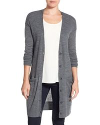 Halogen - Rib Knit Wool Blend Cardigan (regular & Petite) - Lyst