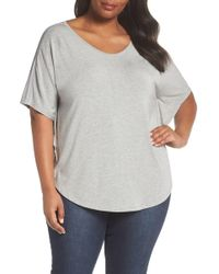 Sejour - Mesh Inset Sleeve Tee (plus Size) - Lyst