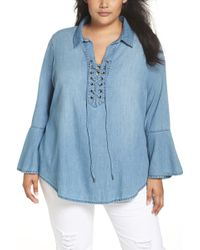 Seven7 - Lace-up Tunic (plus Size) - Lyst