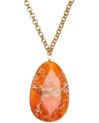 Nest - Orange Jasper Pendant Necklace - Lyst
