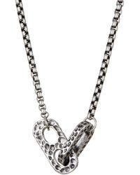 Steve Madden - Hammered Link Pendant Necklace - Lyst