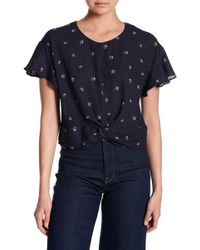 Lush - Ruffle Sleeve Knotted Front Tee - Lyst