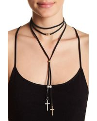 Lucky Brand - Two-tone Layered Leather Choker Necklace - Lyst