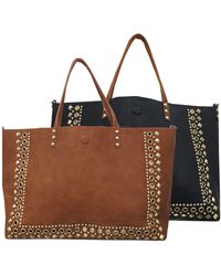 Under One Sky - Studded Faux Leather Reversible Tote - Lyst