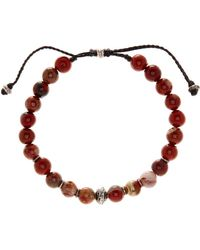 Link Up - 8mm Red Jasper Beaded Cord Bracelet - Lyst