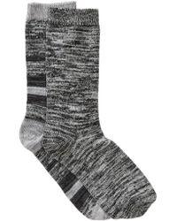 Steve Madden - Marled Stripe Knit Socks - Pack Of 2 - Lyst