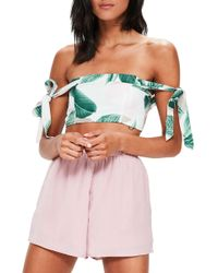 Missguided - Tropical Print Off The Shoulder Top - Lyst