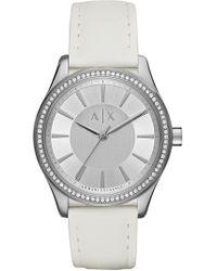 Armani Exchange - Women's Nicole White Leather Strap Watch, 36mm - Lyst