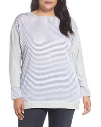 Two By Vince Camuto - Mixed Media Sweatshirt (plus Size) - Lyst
