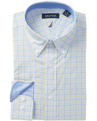 Nautica - Yellow Blue Plaid Traditional Fit Dress Shirt - Lyst