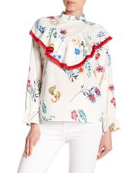 Haute Rogue - Floral Long Sleeve Top - Lyst