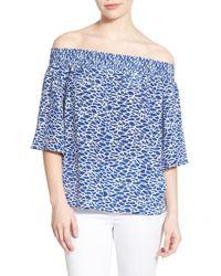 Amour Vert - Caprice Silk Off-shoulder Top - Lyst