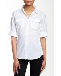 Sandra Ingrish - Knit Trim Roll Sleeve Button-down Shirt - Lyst