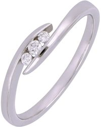 Bony Levy - 18k White Gold Channel Set Diamond Bypass Ring - 0.08 Ctw - Lyst
