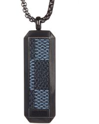 Ben Sherman - Stainless Steel Leather Dog Tag Necklace - Lyst