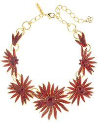 Oscar de la Renta - Resin & Crystal Floral Necklace - Lyst