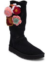UGG - Classic Floral Crochet Genuine Shearling Boot - Lyst