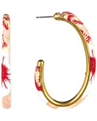 Lucky Brand - Floral Print 55mm Hoop Earrings - Lyst