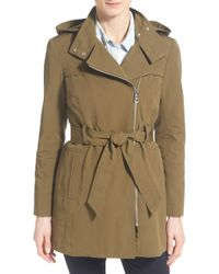 Vince Camuto - Belted Asymmetrical Zip Trench Coat - Lyst
